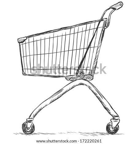 vector sketch illustration - trolley for shopping - stock vector