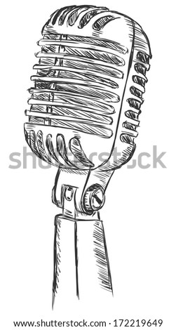 vector sketch illustration - variety microphone - stock vector