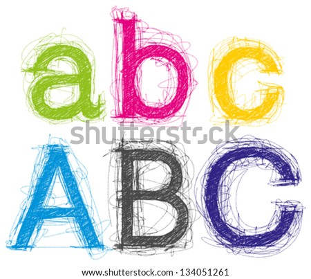Vector sketch letters pencil style - stock vector