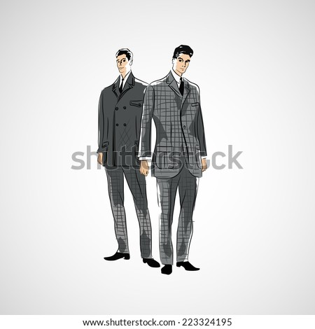 Vector sketch man in fashion clothes - stock vector