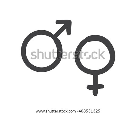 Vector sketch of a heterosexuality symbol. Hand drawn Mars and Venus  - stock vector