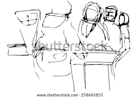 vector sketch of all the people at the counter with the seller - stock vector