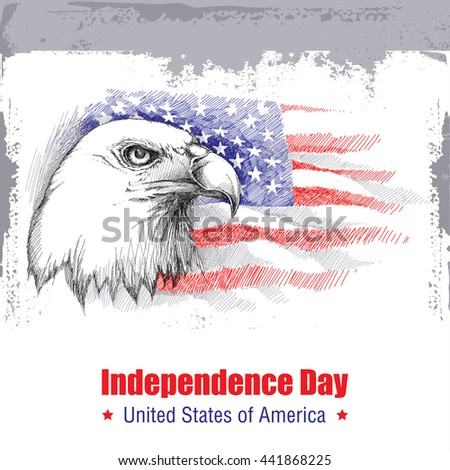 Vector sketch of bald eagle head on the background with American flag isolated on white. Design for United Stated Independence Day. Background with flag and eagle for July 4. July fourth greeting card
