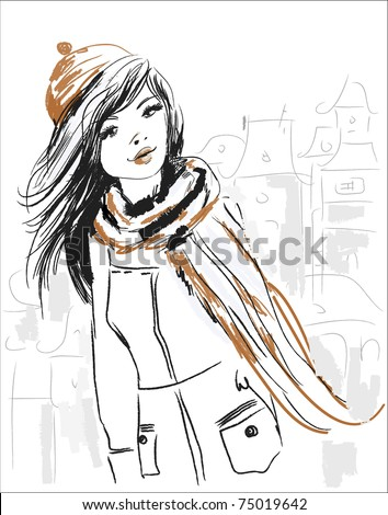 Vector sketch of beautiful girl - stock vector