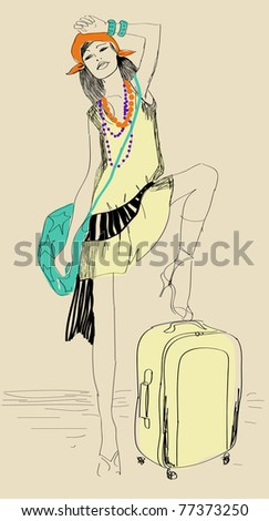 Vector sketch of beautiful girl with suitcase - stock vector