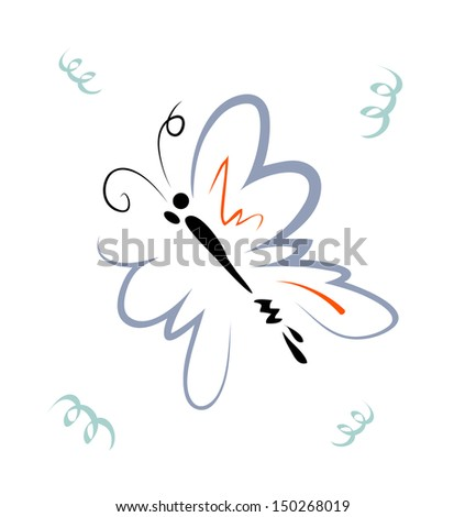 Vector sketch of butterfly on white background.