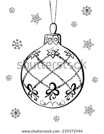Vector Sketch Of Christmas Ball On White Background Hand Draw Decorations