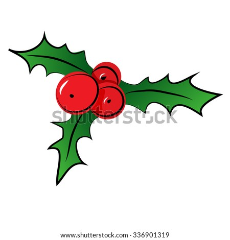 Vector sketch of Christmas holly berry. Christmas symbol. - stock vector
