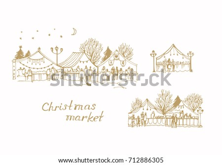 Vector sketch of Christmas market, New Year's Fair on white background
