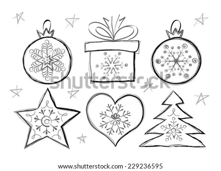 Vector sketch of Christmas set on white background. - stock vector