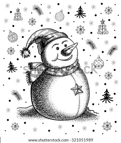 Snowman Drawing Stock Images Royalty-Free Images U0026 Vectors | Shutterstock