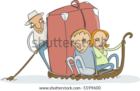 vector sketch of couple with a little to much luggage on traditional venice gondola - stock vector