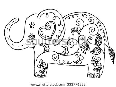 Vector sketch of doodle elephant. Ethnic elephant illustration - stock vector