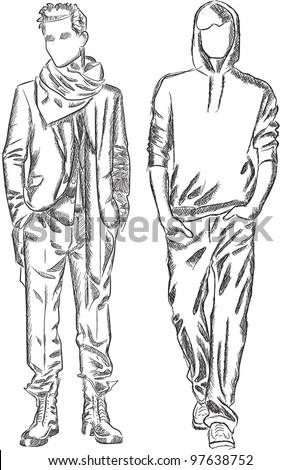 Vector sketch of fashionable men - stock vector
