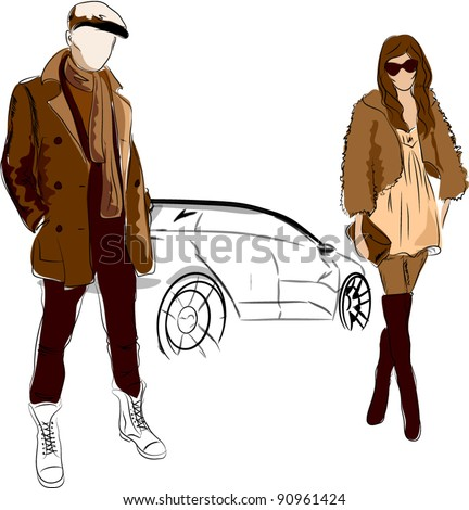 Vector sketch of fashionable men and woman in the street, the background