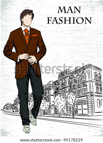 Vector sketch of fashionable men in the street, the background