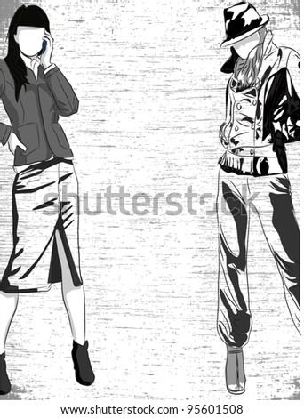 Vector sketch of fashionable women, the background - stock vector