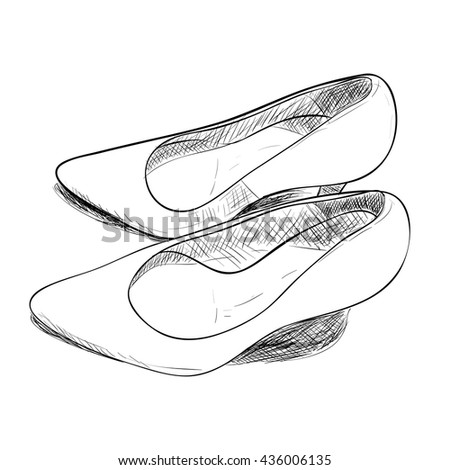 Vector sketch of female shoes. Hand draw illustration. - stock vector