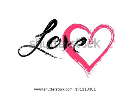 Vector sketch of heart and the word Love. - stock vector
