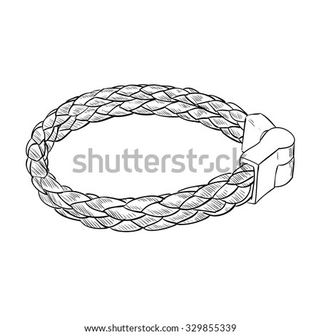 Vector sketch of leather bracelet. Hand draw illustration. - stock vector