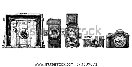 Vector sketch of photo cameras evolution set in ink hand drawn style. Inscription PHOTO is made as a separate object. Can be simply removed. view camera, folding camera, TLR, rangefinder camera, SLR.  - stock vector