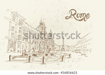 vector sketch of Piazza Navona, Rome. Italy. Retro style.
