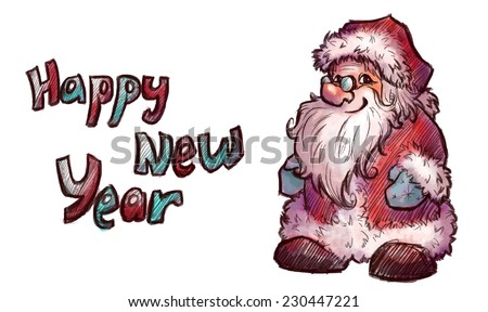 Vector sketch of Santa Claus. Christmas illustration. - stock vector