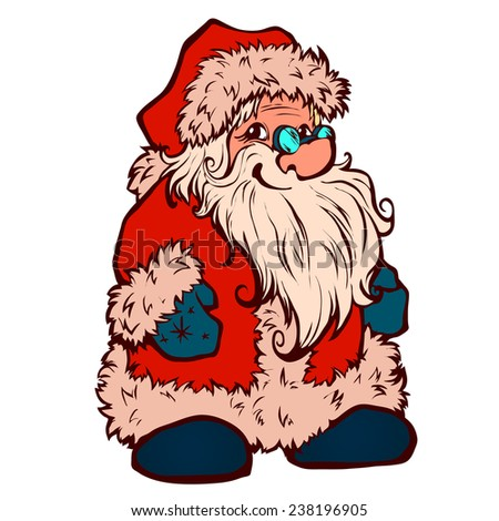 Vector sketch of Santa Claus. Christmas illustration - stock vector
