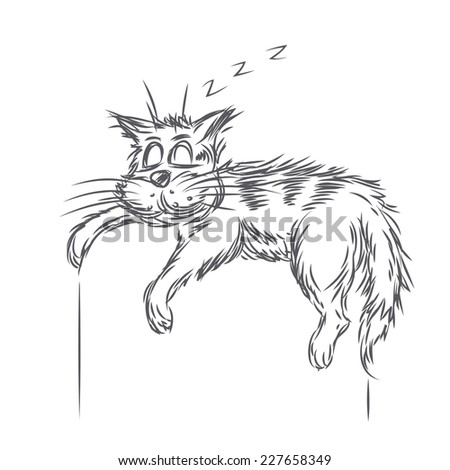 Vector sketch of sleeping cat - stock vector