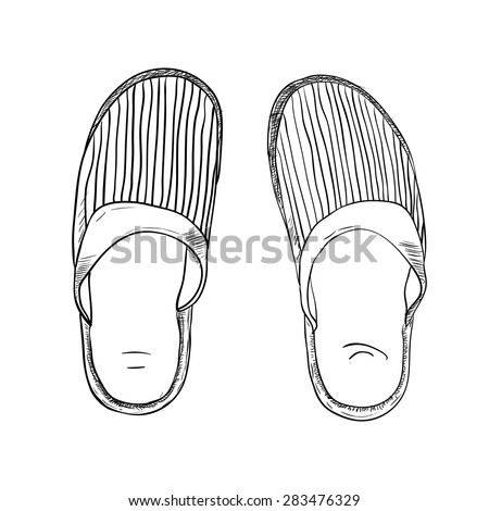 Vector sketch of slippers. Hand draw illustration. - stock vector