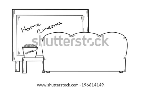 vector, sketch of the home cinema and popcorn on the table - stock vector