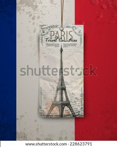 Vector sketch of the Paris Eiffel Tower. Vector format - stock vector