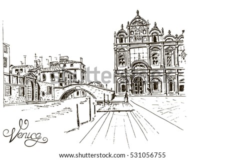 Vector sketch of The Scuola Grande di San Marco ( Scuole Grandi of Venice). Venice. Italy.