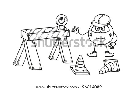 vector, sketch of the under construction with emoticon - stock vector