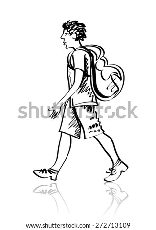 Vector sketch of tourist with a backpack. Linear sketch. Isolated on white. - stock vector