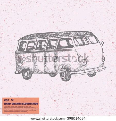 vector sketch transporting van hand drawn stock vector