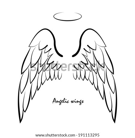 Vector sketch of two big white wing. - stock vector