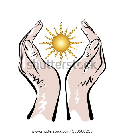 Vector sketch of two human hand and sun on the white background. - stock vector