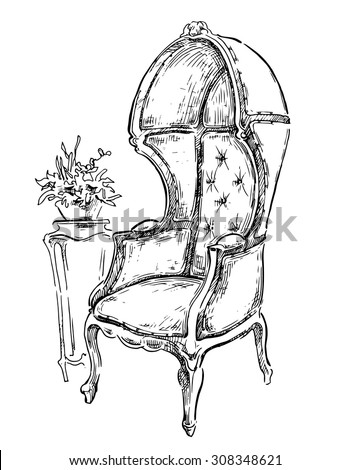 Vector sketch of vintage armchair. - stock vector