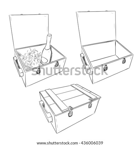 Vector sketch of wooden boxes. Set of open and closed boxes. Hand draw illustration. - stock vector