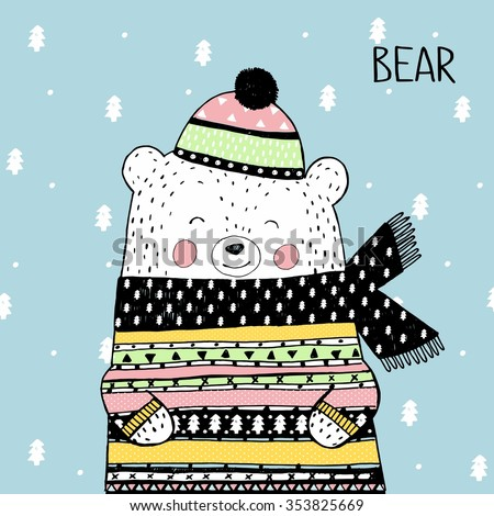 Vector sketch original illustration of cute winter white bear in a knitted cap and sweater. Lovely Christmas or New Year card. North Pole. More cute animals cards in my portfolio - stock vector