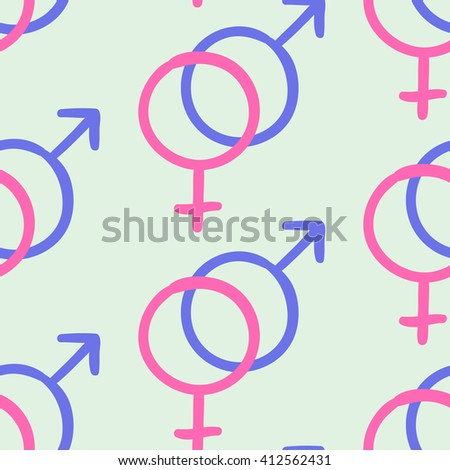 Vector sketch pattern of a heterosexuality symbol. Hand drawn creative background - stock vector