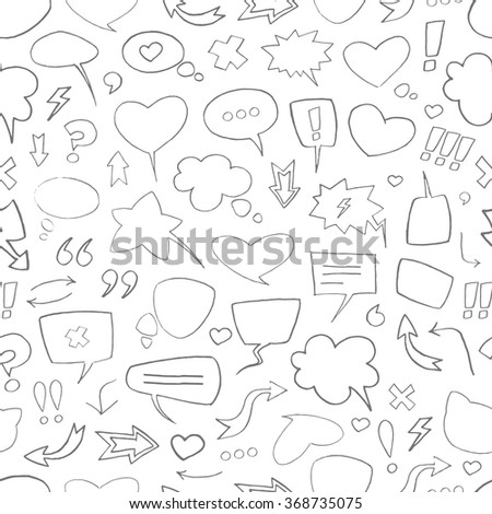 Vector sketch pattern with black speech bubbles on white background. Seamless pattern can be used for wallpaper, pattern fills, web page background,surface textures. - stock vector