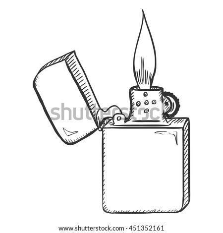 Vector Sketch Retro Lighter with Flame - stock vector