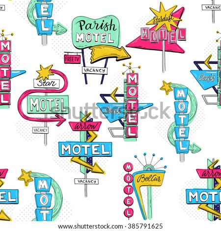 Vector sketch seamless pattern with motel sign, retro sign/pointer, vintage billboard, bright signboard, vintage neon sign,road trip, colorful old sign, American style for advertising - stock vector
