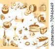 Vector Sketch set. food. - stock vector