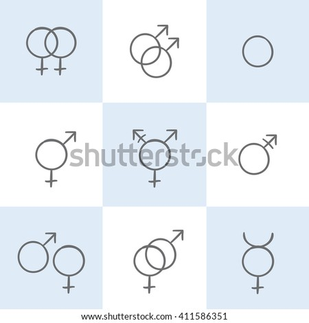 Vector sketch set of a gender symbols. Creative collection of a hand drawn icons  - stock vector