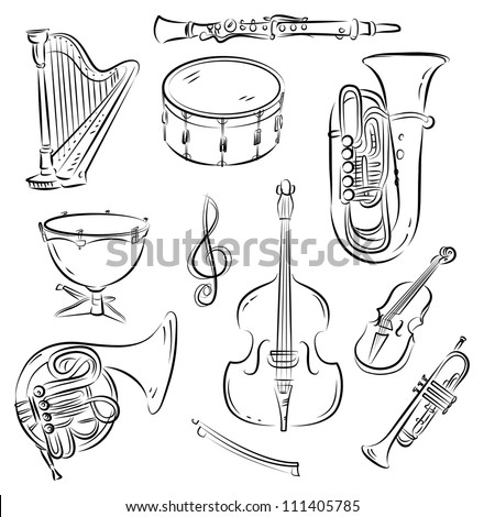 Vector sketch set of Symphony Orchestra musical instruments - stock vector
