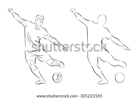 vector sketch soccer player. player shooting.white background