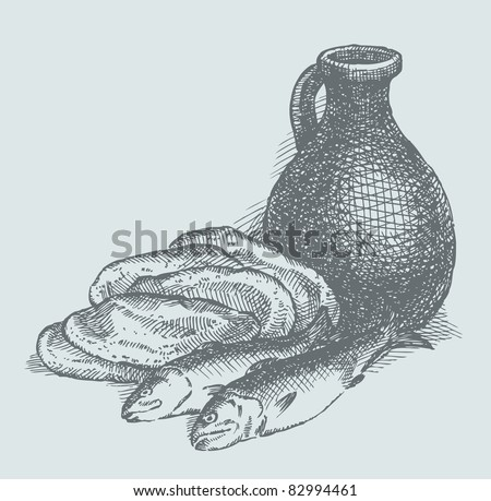 Vector sketch. Still life of a simple peasant food from the biblical story: the fish, bread and water